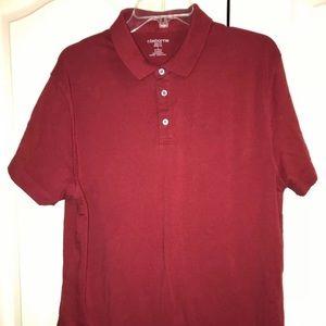 Claiborne Mens Polo Shirt Slim Fit Burgundy Red L